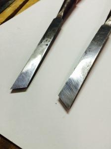 Closeup Skew Chisel blade